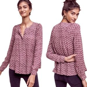 Maeve by Anthro | Printed Mauve Blouse